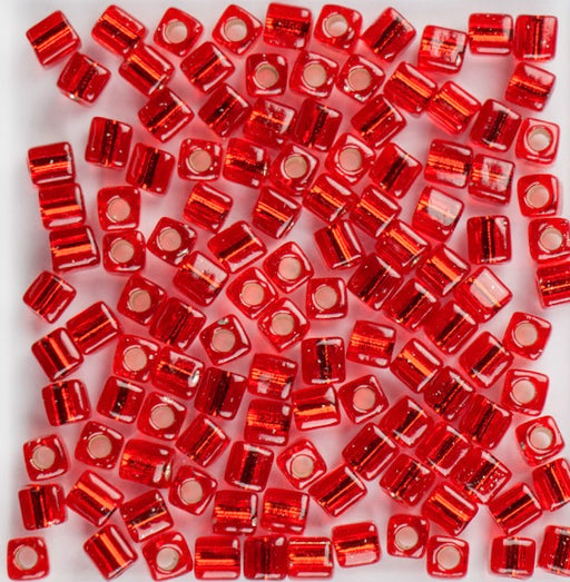Miyuki 4.0mm CUBE Beads - Silver Lined Flame Red