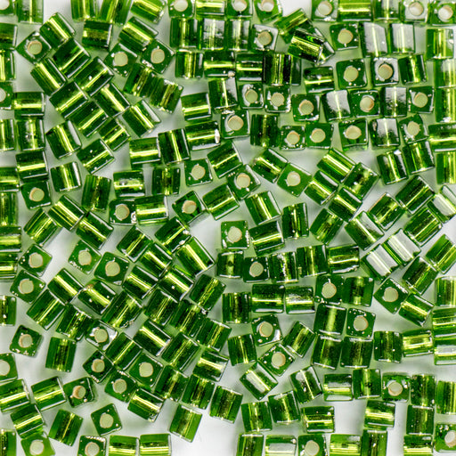 Miyuki 3.0mm CUBE Beads - Silver Lined Olivine