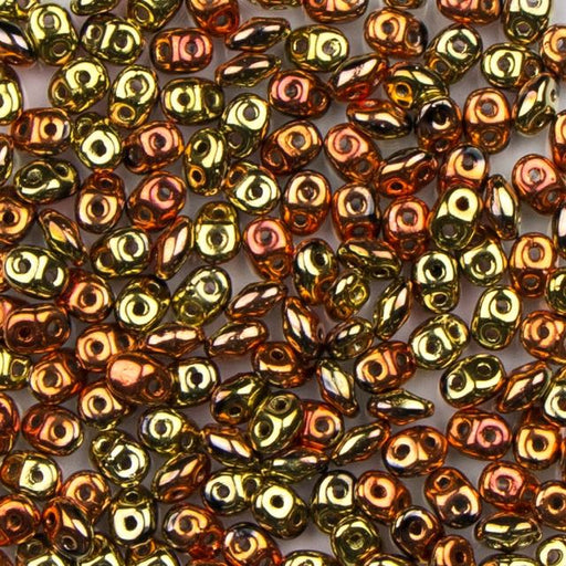 2.5mm x 5mm SUPERDUO Bead - Jet California Gold Rush
