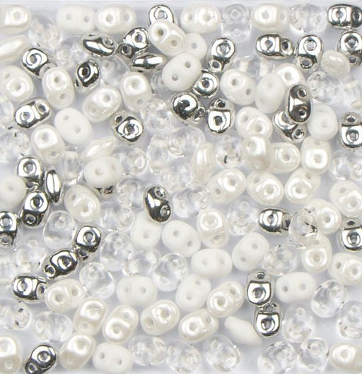2.5mm x 5mm SUPERDUO Bead - White Wedding Mix