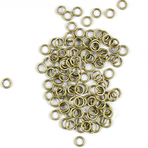 6mm 18 gauge Closed Jump Rings - Antique Brass