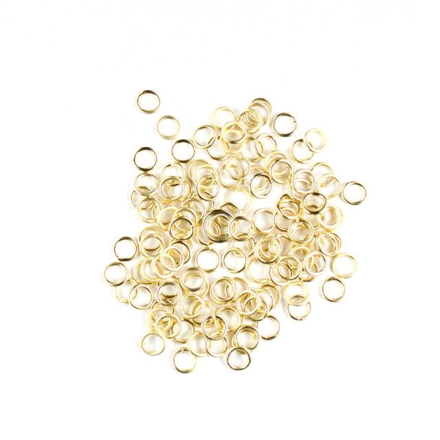 6mm 18 gauge Closed Jump Rings - Satin Hamilton Gold