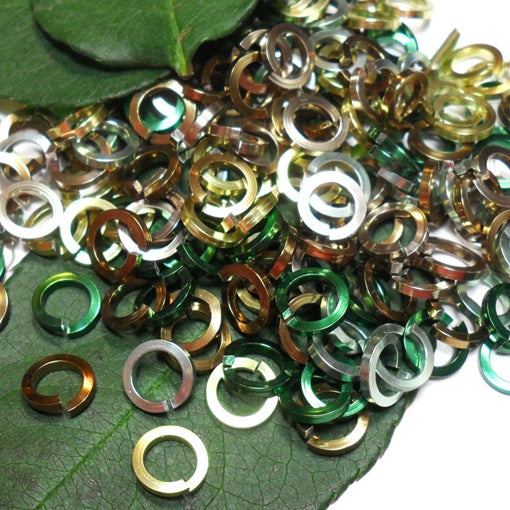 16swg (1.6mm) 1/4in. (6.6mm) ID Square Wire Anodized Aluminum Jump Rings - Forest Mix