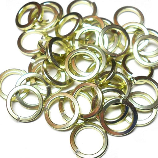 16swg (1.6mm) 1/4in. (6.6mm) ID Square Wire Anodized Aluminum Jump Rings - Lemon-Lime