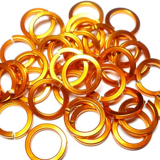 16swg (1.6mm) 1/4in. (6.6mm) ID Square Wire Anodized Aluminum Jump Rings - Orange