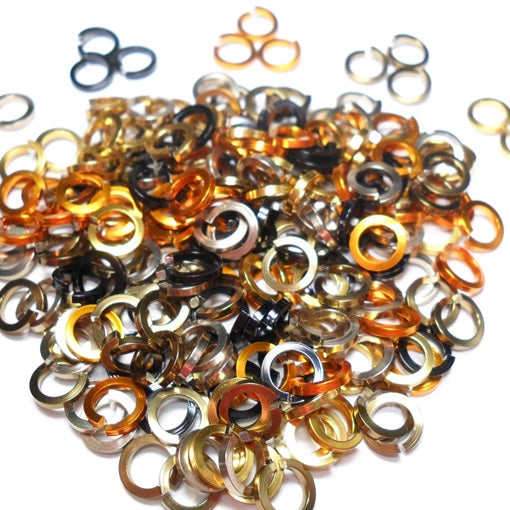 16swg (1.6mm) 3/8in. (10.0mm) ID Square Wire Anodized Aluminum Jump Rings - Animal Print Mix