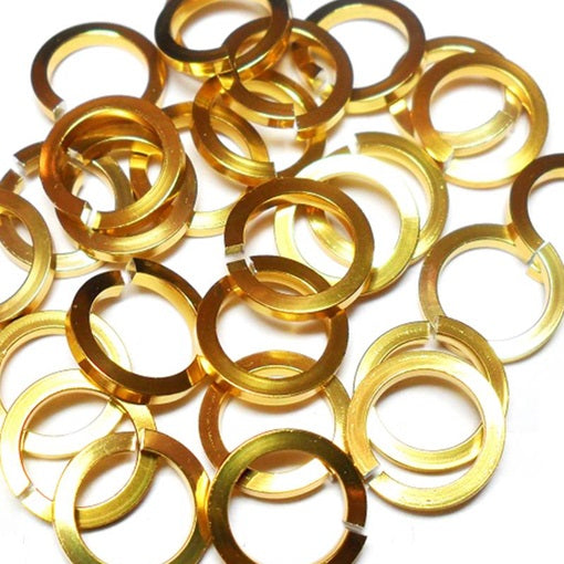 16swg (1.6mm) 3/8in. (10.0mm) ID Square Wire Anodized Aluminum Jump Rings - Gold