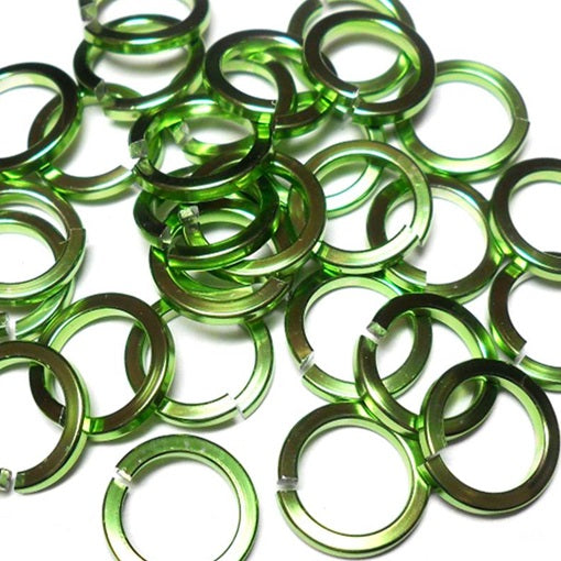 16swg (1.6mm) 3/8in. (10.0mm) ID Square Wire Anodized Aluminum Jump Rings - Lime