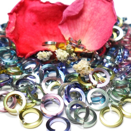 18swg (1.2mm) 3/16in. (5.0mm) ID Square Wire Anodized Aluminum Jump Rings - Spring Fling Mix