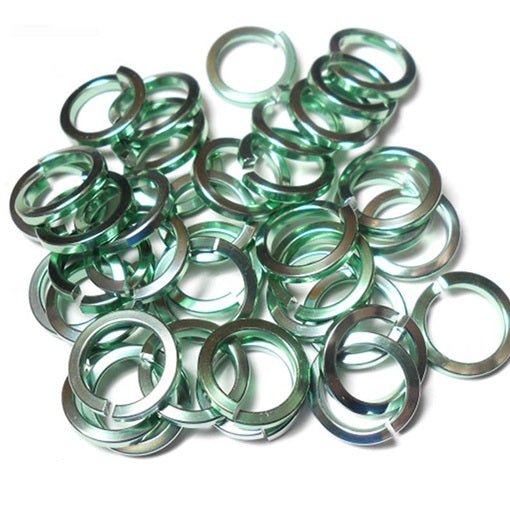 18swg (1.2mm) 3/16in. (5.0mm) ID Square Wire Anodized Aluminum Jump Rings - Seafoam