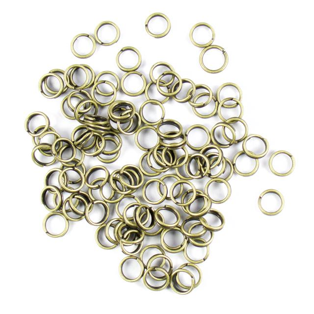 7mm Split Rings - Antique Brass