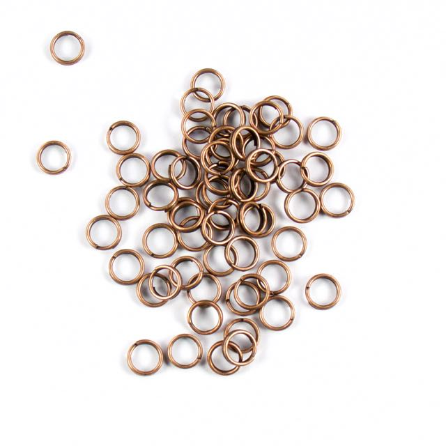 7mm Split Rings - Antique Copper