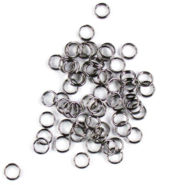 7mm Split Rings - Black