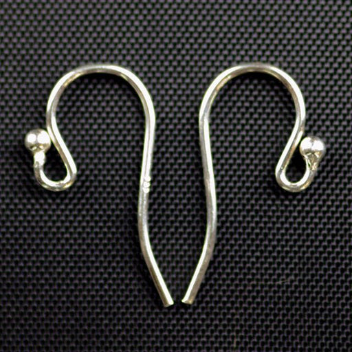 Sterling Silver - Ear Wire .028/.7mm/21 ga. Round Wire Loop w/2mm Ball