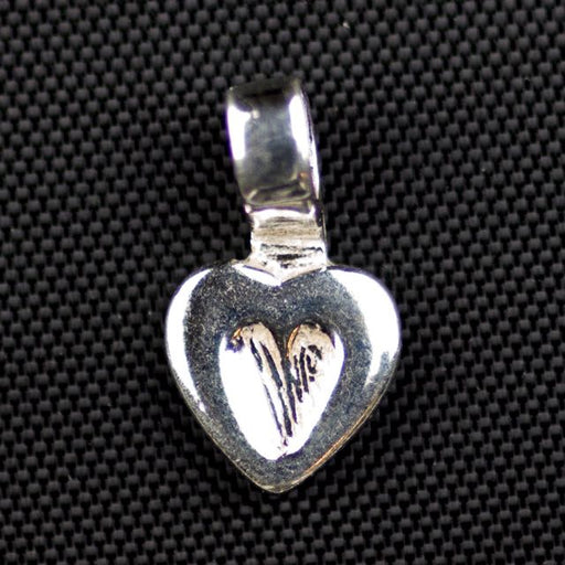 Sterling Silver Heart Bail - Glueing (15mm x 8mm ; Loop ID 2.3mm)