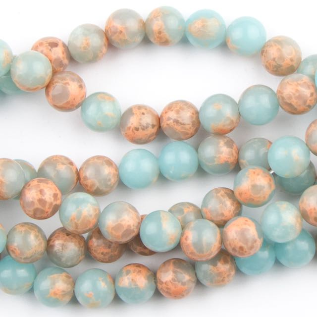 8mm Round POWDER BLUE IMPRESSION JASPER - 8 inch Strand