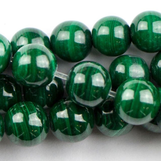6mm Round MALACHITE - 8 inch Strand