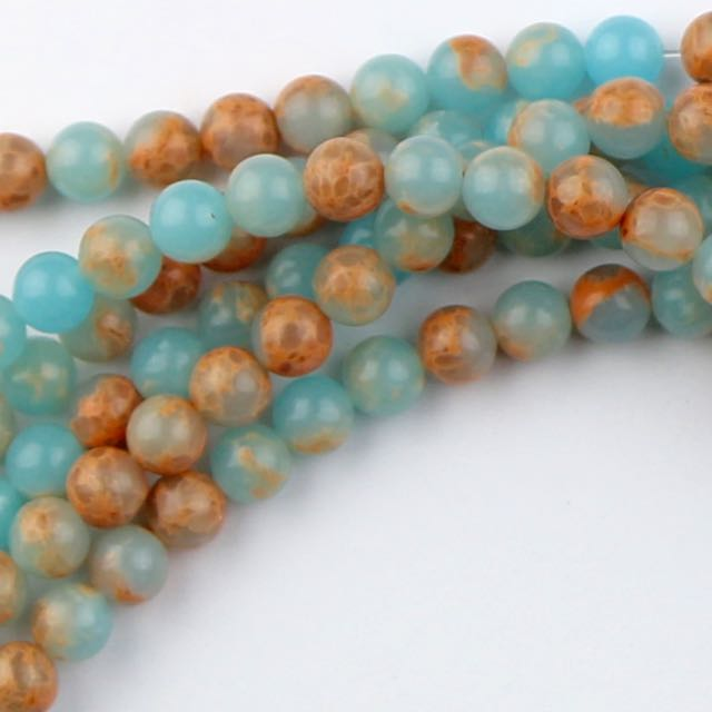 6mm Round POWDER BLUE IMPRESSION JASPER - 8 inch Strand