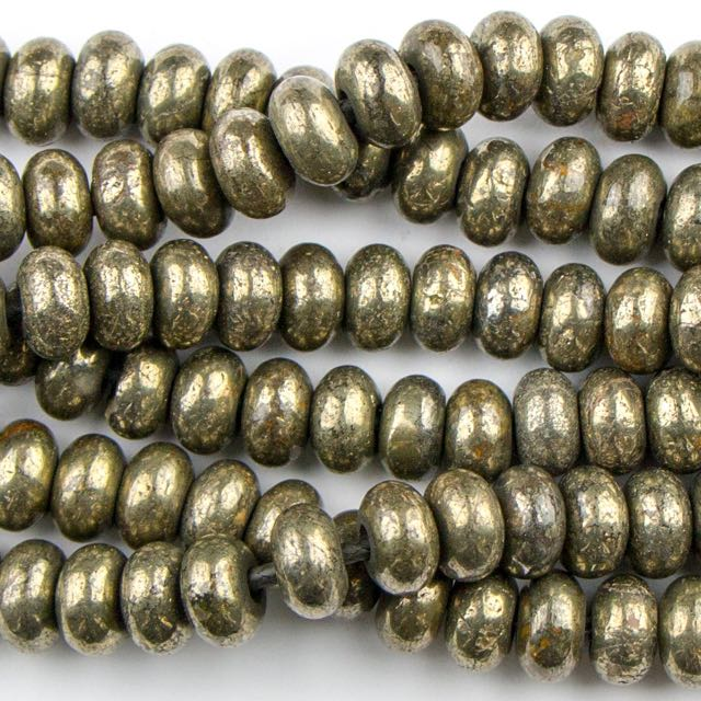 8mm Rondelle Large Hole (2.5mm) PYRITE - 8 inch Strand