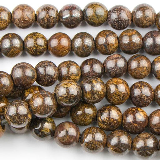 8mm Round Large Hole (2.5mm) BRONZITE - 8 inch Strand