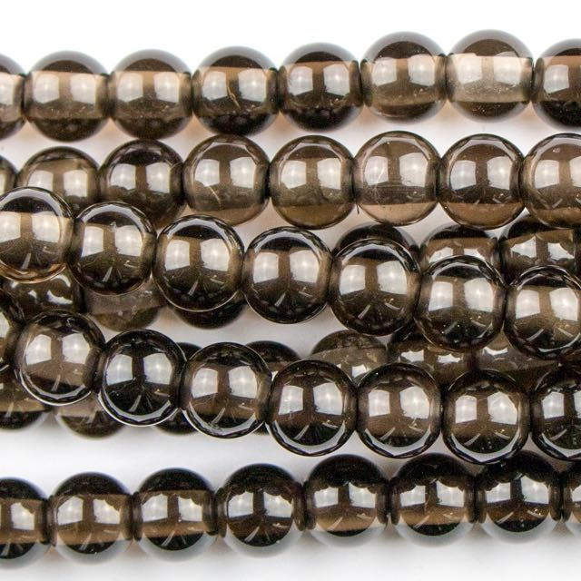 8mm Round Large Hole (2.5mm) SMOKY QUARTZ - 8 inch Strand