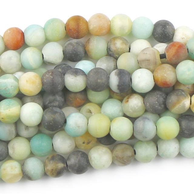 8mm Round Large Hole (2.5mm) Matte BLACK GOLD AMAZONITE - 8 inch Strand