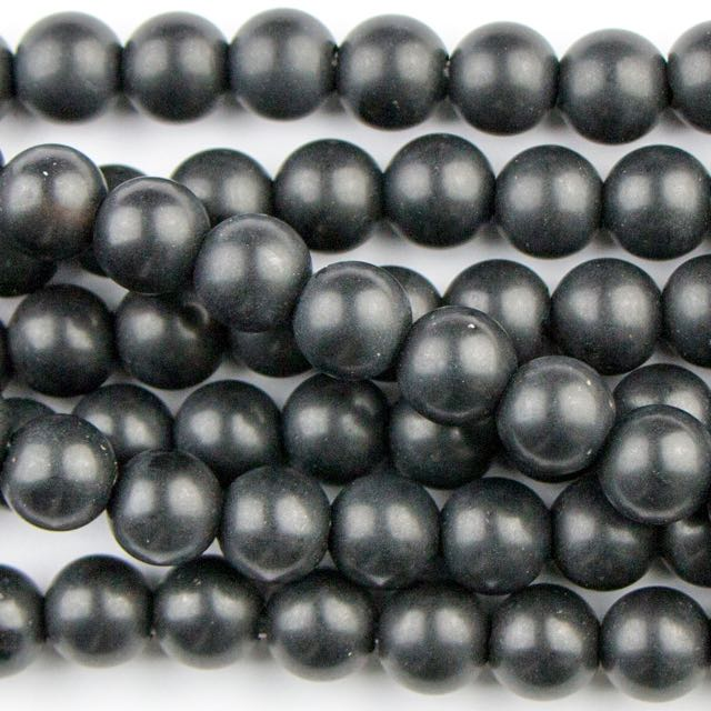 8mm Round Large Hole (2.5mm) Matte ONYX - 8 inch Strand