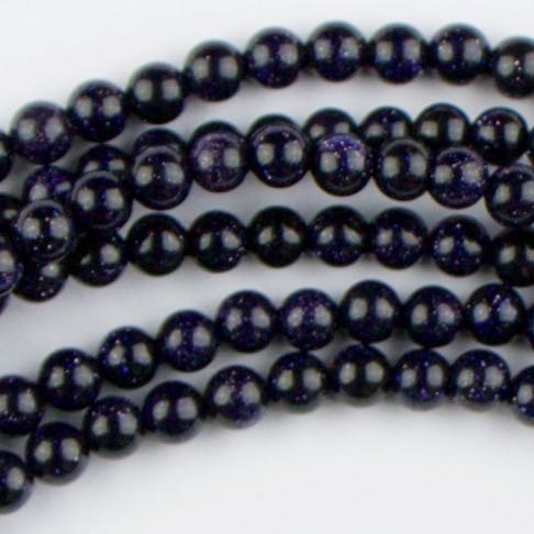 4mm Round BLUE GOLDSTONE - 8 inch Strand