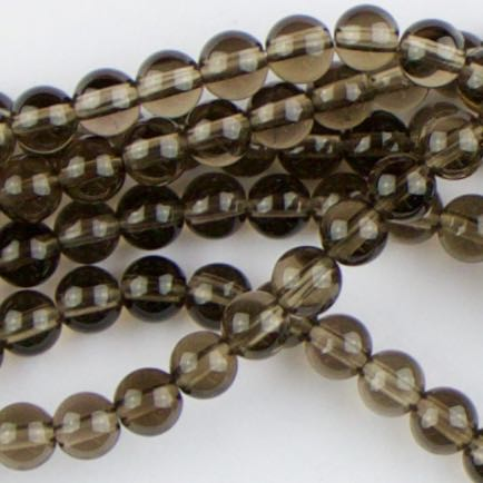 4mm Round SMOKY QUARTZ - 8 inch Strand