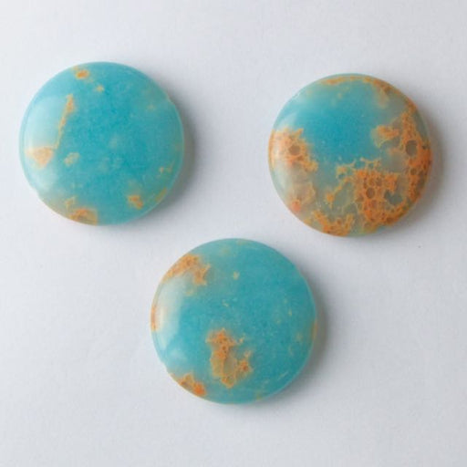 30mm Coin POWDER BLUE IMPRESSION JASPER