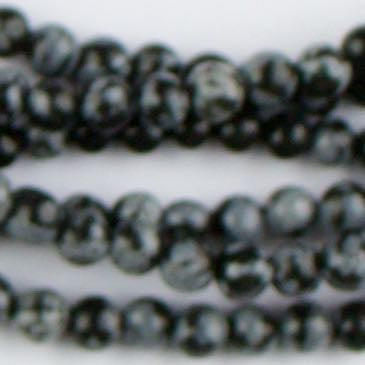 4mm Round SNOWFLAKE OBSIDIAN - 8 inch Strand