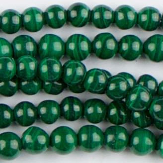 4mm Round MALACHITE - 8 inch Strand