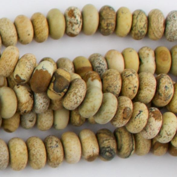 8mm Large Hole (2.5mm) Rondelle Matte PICTURE JASPER - 8 inch Strand