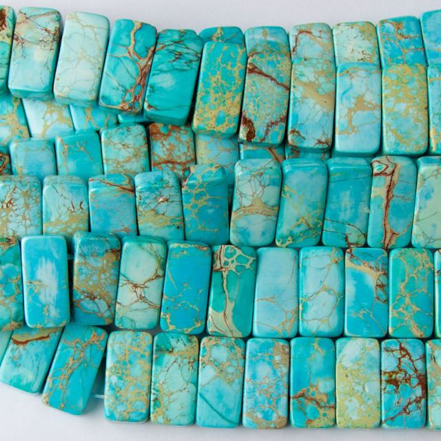 10mm x 20mm Double Drill Rectangle AQUA (Dyed) IMPRESSION JASPER - 8 inch Strand