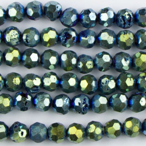 8mm Faceted Round DRUZY AGATE Blue-Green - 8 inch Strand