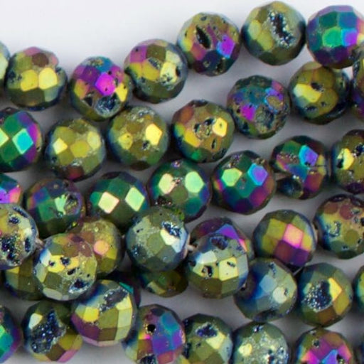 8mm Faceted Round DRUZY AGATE Rainbow - 8 inch Strand
