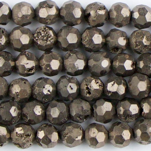 8mm Faceted Round DRUZY AGATE Brown - 8 inch Strand