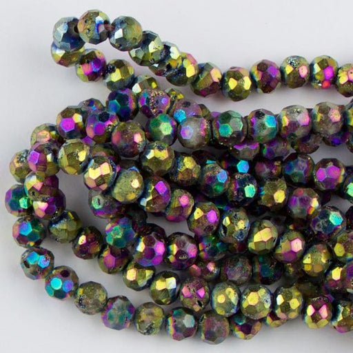 6mm Faceted Round DRUZY AGATE Rainbow - 8 inch Strand