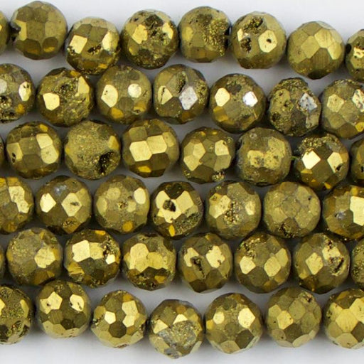 8mm Faceted Round DRUZY AGATE Gold - 8 inch Strand