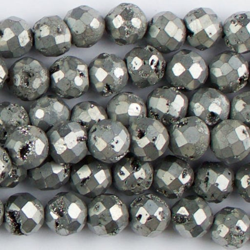8mm Faceted Round DRUZY AGATE Platinum - 8 inch Strand