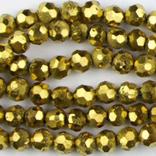 6mm Faceted Round DRUZY AGATE Gold - 8 inch Strand