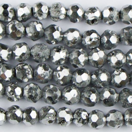 6mm Faceted Round DRUZY AGATE Platinum - 8 inch Strand