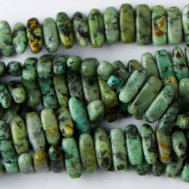 5mm x 15mm Flat Chip AFRICAN TURQUOISE - 8 inch Strand