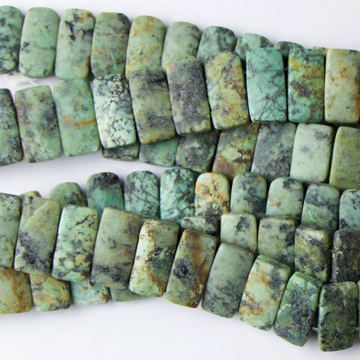 10mm x 20mm Double Drill Rectangle Matte AFRICAN TURQUOISE - 8 inch Strand
