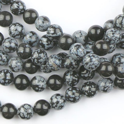 10mm Round SNOWFLAKE OBSIDIAN - 8 inch Strand