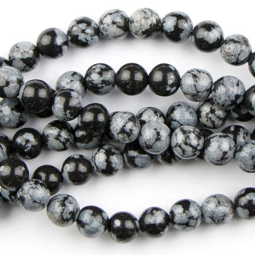 6mm Round SNOWFLAKE OBSIDIAN - 8 inch Strand