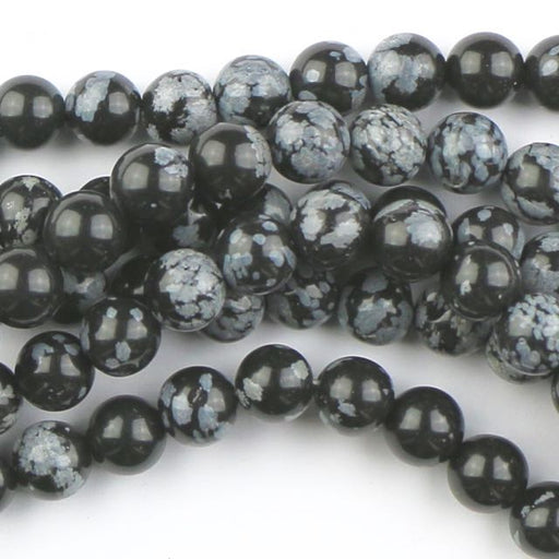 8mm Round SNOWFLAKE OBSIDIAN - 8 inch Strand