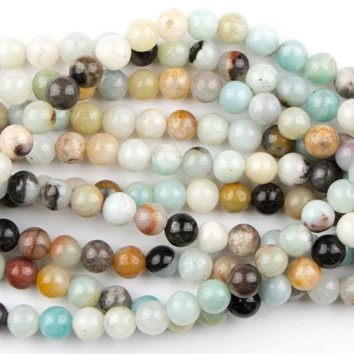 6mm Round BLACK-GOLD AMAZONITE - 8 inch Strand