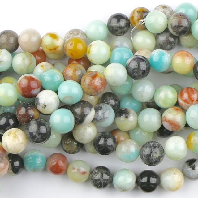 10mm Round BLACK-GOLD AMAZONITE - 8 inch Strand