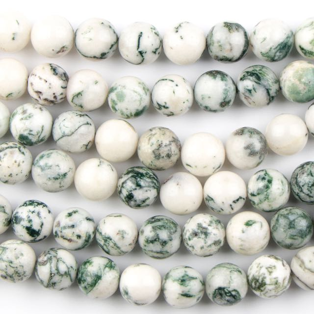 10mm Round TREE AGATE - 8 inch Strand